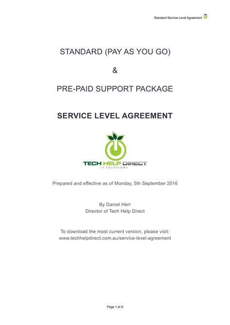 service level agreement examples  word examples