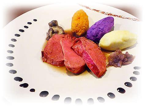 recette de cuisine gastronomique filet de boeuf aux trois purées garniture forestière et