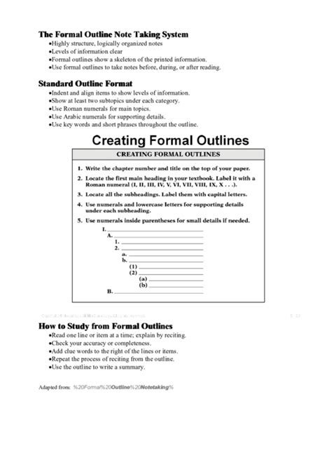 formal outline note  template printable