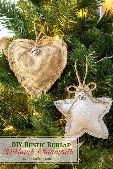 cute  easy diy rustic burlap christmas ornaments