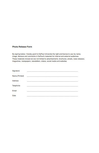 FREE 30+ Photo Release Forms in PDF   MS Word
