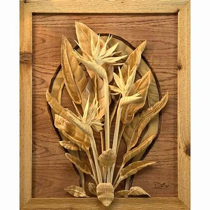 Wood Bird Carving Relief Carvings Paradise Landscape