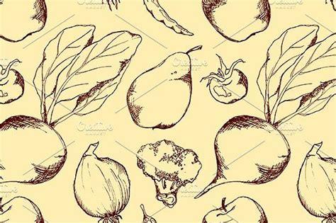 art, vector, vegetable, fruit, food, seamless, pattern ...