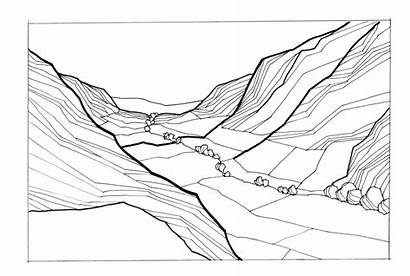 Valley Clipart Mountains Illustration Between Landscape Note