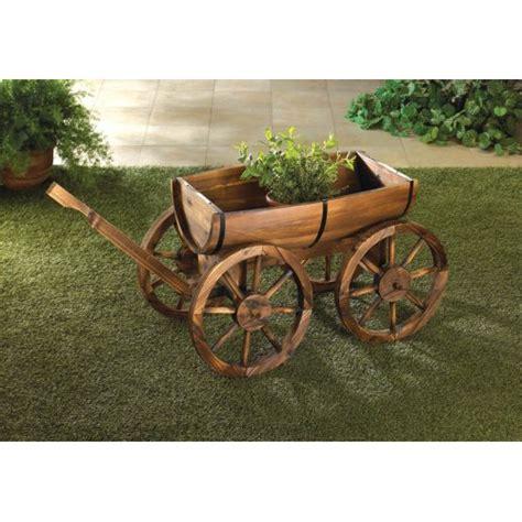 wood wagon barrel planter rustic flower pot garden