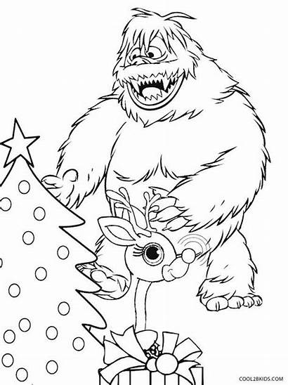 Coloring Pages Snowman Abominable Rudolph Drawing Bumble