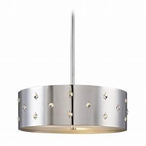 Modern drum pendant light in chrome finish p