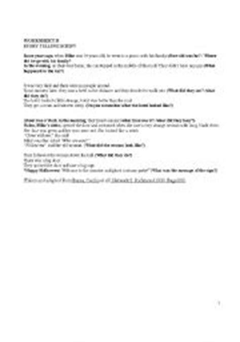 English Worksheets Story Telling Script