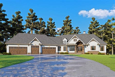 story mountain craftsman house plan  angled  car garage tw architectural