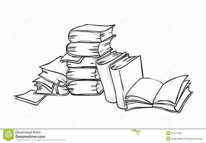 Books Pile Line Livres Boeken Libri Drawing