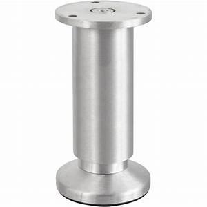Pied de meuble cylindrique réglable aluminium brossé gris, de 12 à 14 cm Leroy Merlin