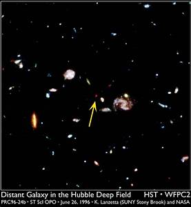 The faintest galaxies so far observed were seen in the ...