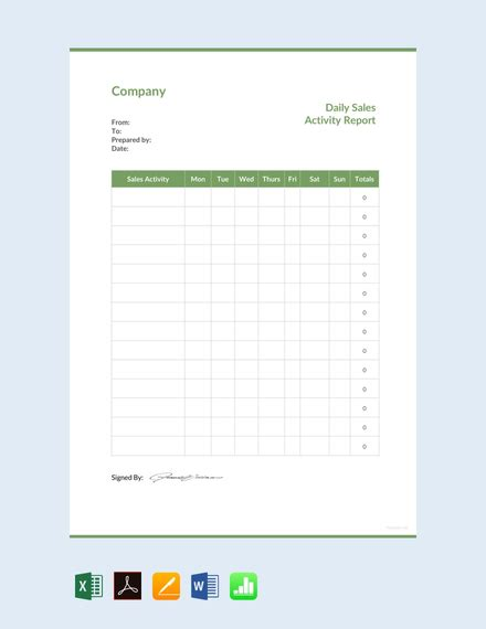 daily sales activity report template  word