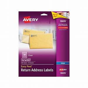 avery clear easy peel return address labels ave18695 With clear printed return address labels