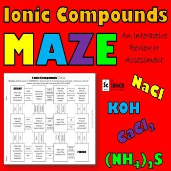 ionic compounds maze for review or assessment of