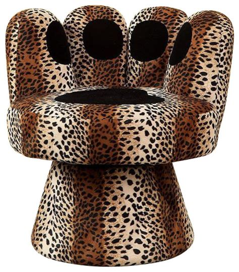 leopard print animal paw design padded fabric upholstered