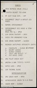 Checklist for astronauts performing the first US spacewalk ...