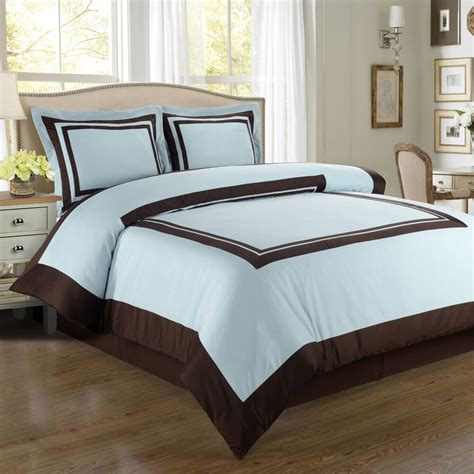 Blue And Brown Duvet Cover by Wrinkle Free Cotton Hotel Blue And Brown Duvet
