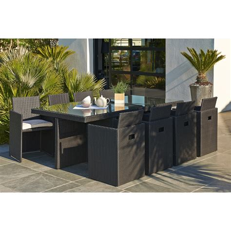 salon de jardin encastrable r 233 sine tress 233 e noir 1 table 8 fauteuils leroy merlin