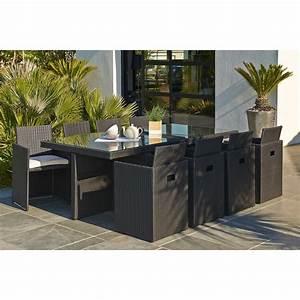 Salon De Jardin Jardiland : salon de jardin encastrable r sine tress e noir 1 table ~ Dailycaller-alerts.com Idées de Décoration