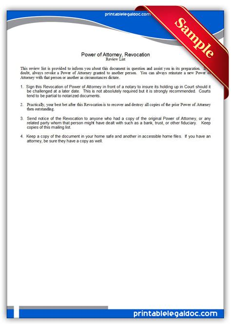 printable power of attorney forms free printable power of attorney revocation form generic