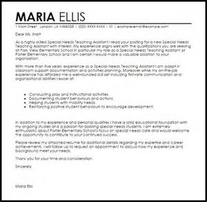 resume for education assistant special needs special needs teaching assistant cover letter sle livecareer