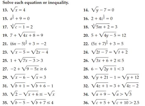 Solving Radical Equations Worksheets Worksheets For All