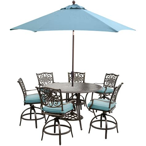 Umbrella And Table Set by Hanover Traditions 7 High Dining Set In Blue With 9
