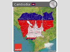 Free Flag Map of Cambodia, satellite outside