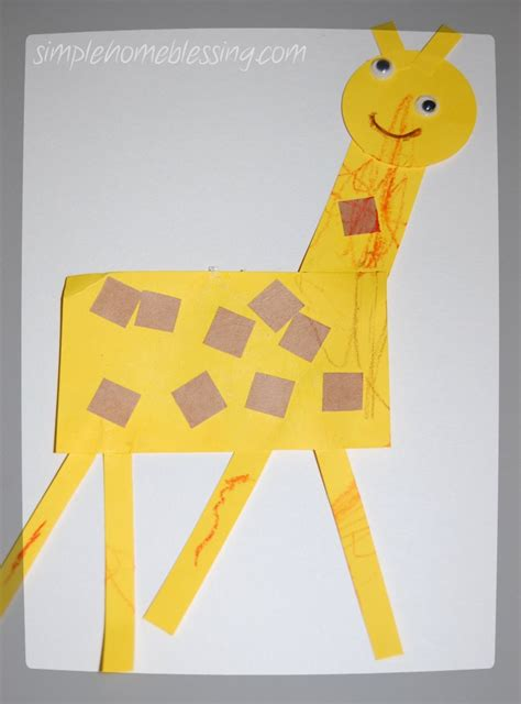 one year preschool yellow simple home blessings 858 | giraffe craft 758x1024