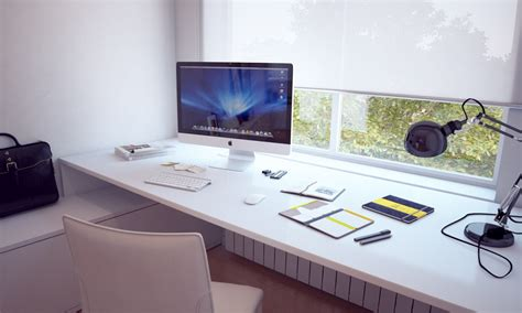 apple imac computer desk white built in bespoke desk interior design ideas