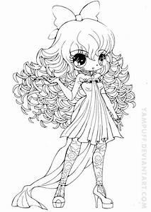 Drawn curl chibi - Pencil and in color drawn curl chibi