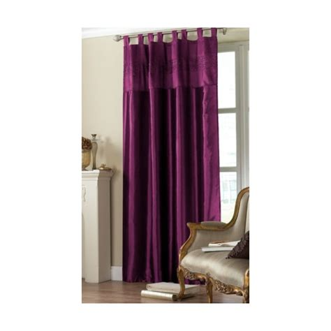 purple tab top embroidered curtain panel hd home direct