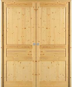 Double porte coulissante quercy sapin massif brut paul for Porte de garage coulissante et porte en sapin massif