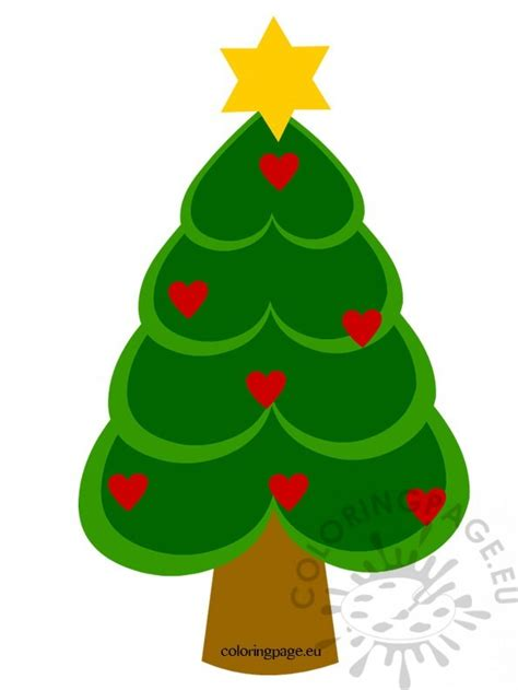 christmas tree with hearts coloring page