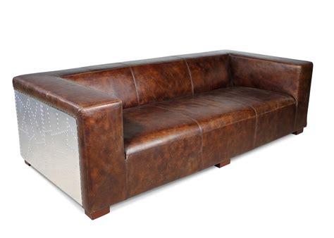 sofa braun vintage sofa und zwei sessel vintage aviator stil in braune patina volleder
