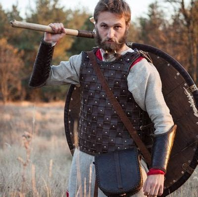 viking leather body armor   brown leather