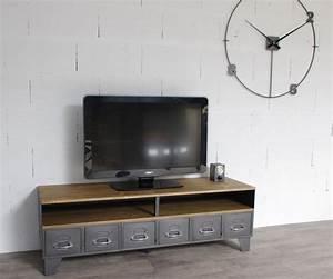 Meuble Tv Industriel : meuble tv industriel tiroirs et niche pour les appareils ~ Preciouscoupons.com Idées de Décoration