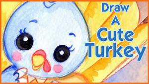 How to Draw a Cute Turkey Kawaii - Step by Step - Narrated ...