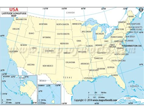 Buy Us Map With Latitude And Longitude