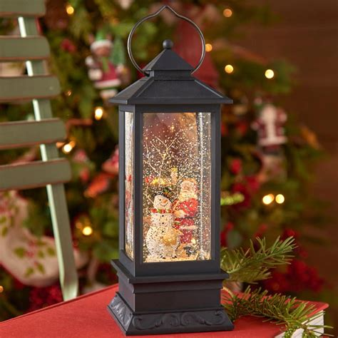 santa  snowman lighted water lantern timer