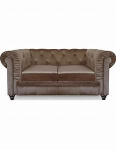 Canape 2 places chesterfield velours taupe a605v2 taupe for Tapis exterieur avec canapé 2 places chesterfield velours