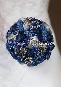 """Silver Grey, Royal Blue Wedding Brooch Bouquet. """"Royal ..."""