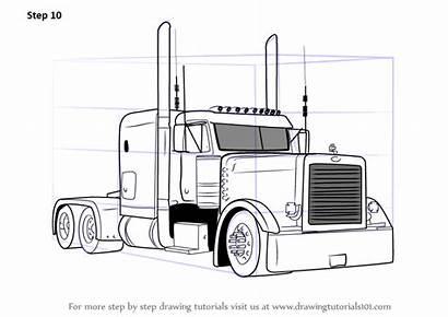 Peterbilt Truck Draw 379 Trucks Drawing Sketch