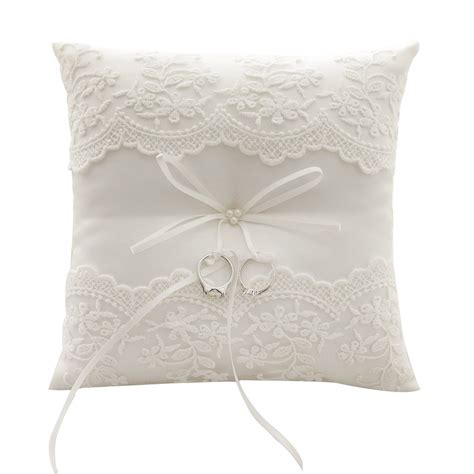 awtlife lace pearl wedding ring pillow ivory cushion bearer 8 26 inch for 691161800907 ebay