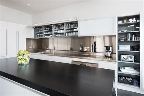white kitchen with stainless steel backsplash stainless steel kitchen backsplash modern kitchen 2106