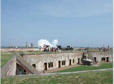Firing One of the Large Cannons Picture of Fort Macon