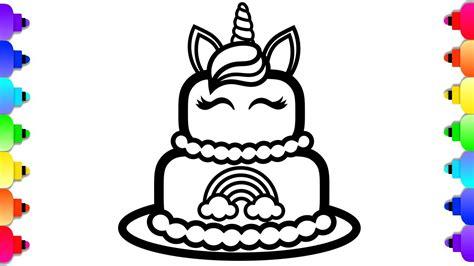 glitter unicorn cake coloring  drawing  kids