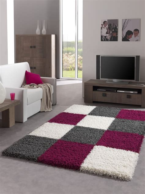 tapis gris  prune idees de decoration interieure