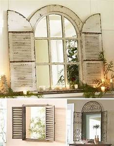 Vintage window shutter decor wooden and metal